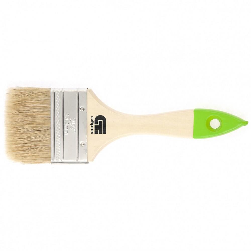 Кисть плоская 63 мм, натуральная щетина, деревянная ручка Сибртех