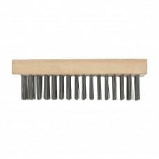 Щетка зачистная пятирядная, закаленная прямая проволока, плоская, деревянная Сибртех