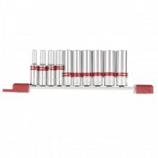 Набор удлиненных торцевых головок 1/4, шестигранные, CrV, 10 шт., 4-13 мм Matrix