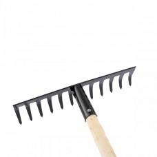 Грабли стальные, 300 х 1300 мм, 12 прямых зубьев, деревянный черенок, Россия, Сибртех