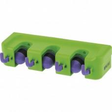 Пластиковый настенный держатель для садово - огородного инструмента, 3 ячейки, 4 крюка, Palisad