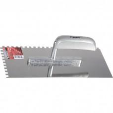 Гладилка из нержавеющей стали, 280 х 130 мм, деревянная ручка, зуб 6 х 6 мм Matrix