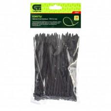 Хомуты, 150 х 3,6 мм, пластиковые, черные, 100 шт Сибртех