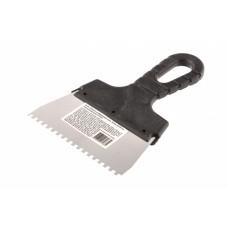 Шпатель из нержавеющей стали, 150 мм, зуб 4 х 4 мм, пластмассовая ручка Sparta