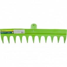 Грабли пластиковые, 380 мм, 11 прямых зубьев, усиленные, без черенка, Россия, Сибртех