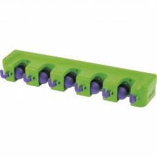 Пластиковый настенный держатель для садово - огородного инструмента, 5 ячеек, 6 крюков, Palisad