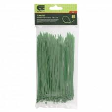 Хомуты, 150 x 2,5 мм, пластиковые, зеленые, 100 шт Сибртех