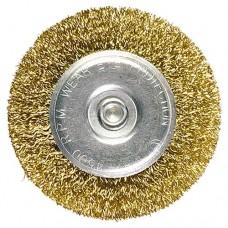 Щетка для дрели, 60 мм, плоская со шпилькой, латунированная витая проволока Matrix