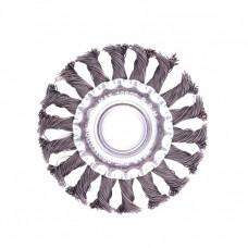 Щетка для УШМ 100 мм, посадка 22,2 мм, плоская, крученая проволока 0,5 мм Matrix