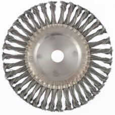Щетка для УШМ 200 мм, посадка 22,2 мм, плоская, крученая проволока 0,5 мм Matrix