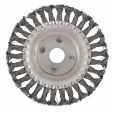 Щетка для УШМ 150 мм, посадка 22,2 мм, плоская, крученая металлическая проволока Сибртех